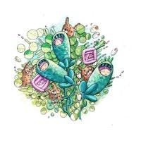 Illustrasjon av blomsterbukett med babyer i kokonger